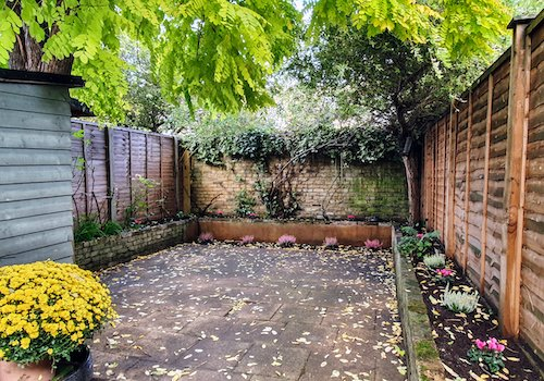 Paved back garden in Battersea with pink and white flowers