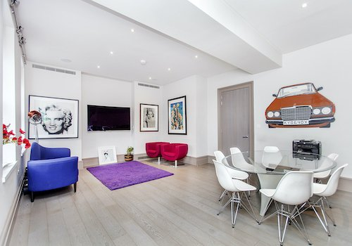 Modern living room in Soho London