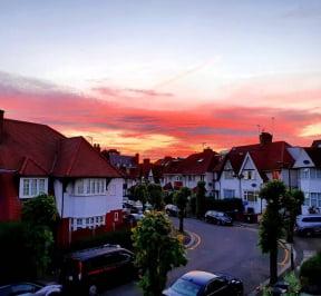 Sunset sky over Hampstead Garden Suburb