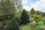 Views over gardens and Hampstead Heath from Brookfield Mansions in Highgate London N6